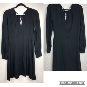Free People Keyhole Black Long Sleeve Knit Dress